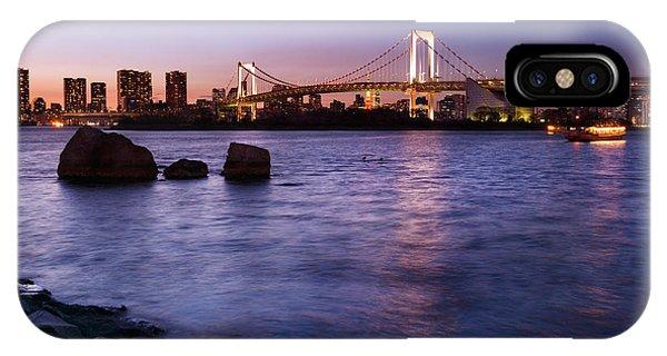 Odaiba iPhone Case - Twilight Scenery Of Rainbow Bridge Across Tokyo Bay by Oleksiy Maksymenko
