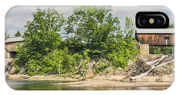 Covered Bridge iPhone Case - Twin Bridges North Hartland Vermont by Edward Fielding