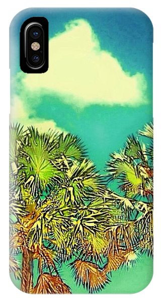 Twin Palms With Aqua Sky - Vertical IPhone Case