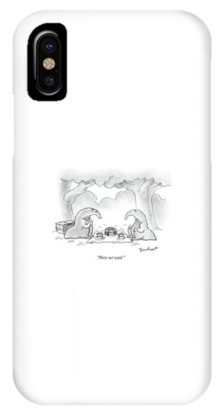 Ant iPhone Case - Two Anteaters On A Picnic Wait For Ants To Come by David Borchart