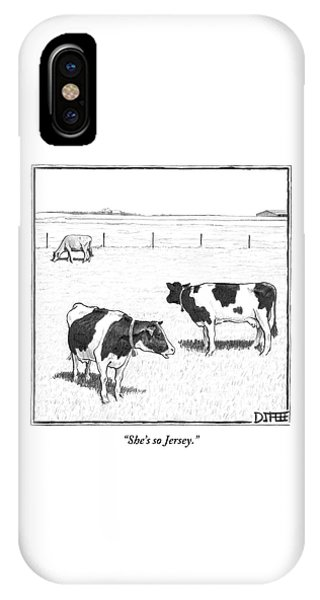 Two Spotted Cows Looking At A Jersey Cow IPhone Case