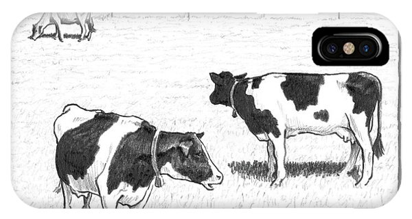 6e180ba4f Two Spotted Cows Looking At A Jersey Cow IPhone Case