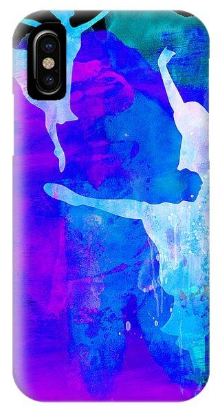 Entertaining iPhone Case - Two Ballerinas Watercolor 3 by Naxart Studio