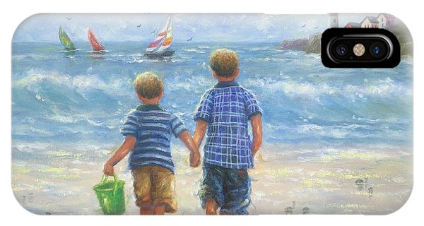 Lighthouse Wall Decor iPhone Case - Two Beach Boys Walking by Vickie Wade