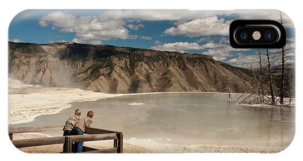 Mammoth Hot Springs iPhone Case - Two Boys Admiring Canary Springs by Howie Garber