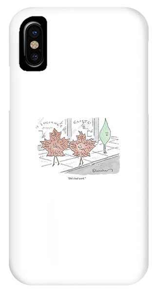 Two Brown Leaves Speak About A Green Leaf IPhone Case