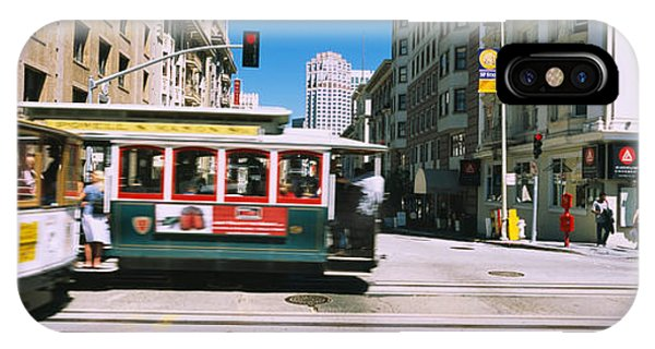 Trolley Car iPhone Case - Two Cable Cars On A Road, Downtown, San by Panoramic Images
