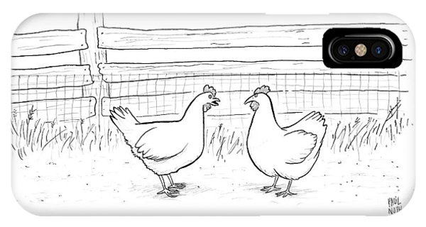Avian iPhone Case - Two Chickens Discuss History by Paul Noth