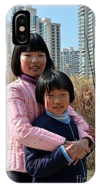 Two Chinese Teen Sisters Hug  And Embrace Shanghai China IPhone Case