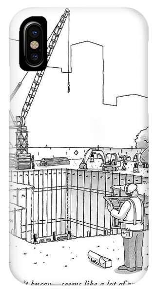 Two Construction Workers Look Out Over A Massive IPhone Case