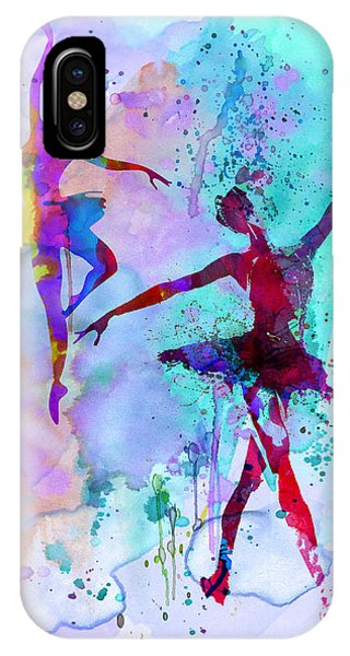 Ballerina iPhone Case - Two Dancing Ballerinas Watercolor 2 by Naxart Studio
