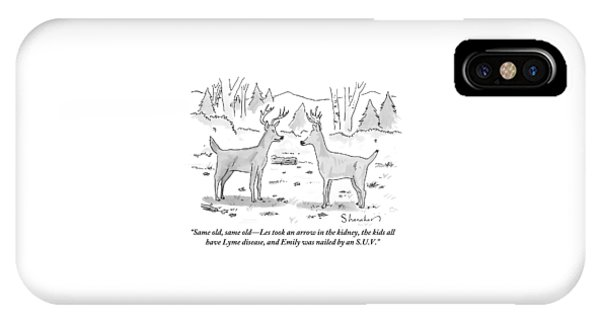 Two Deer In A Forest Are Seen In Conversation IPhone Case
