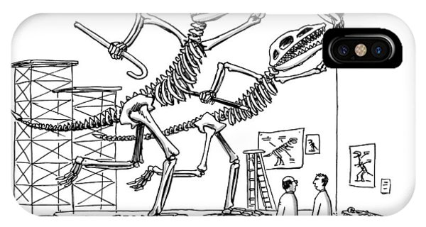 Two Dinosaur Skeletons At A Museum IPhone Case