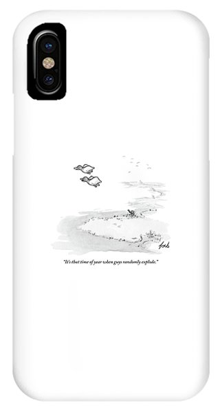 Two Ducks Fly Over A Pond. A Hunter Hides IPhone Case