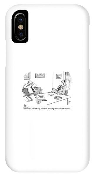 Two Executives In Suits Sit At A Business Table IPhone Case