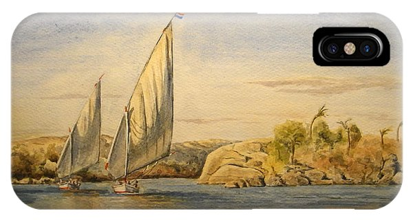 Egyptian iPhone X Case - Two Feluccas by Juan  Bosco