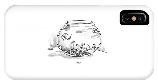 Two Fish Are In A A Fish Bowl. One IPhone Case