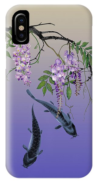 Two Fish Under A Wisteria Tree IPhone Case
