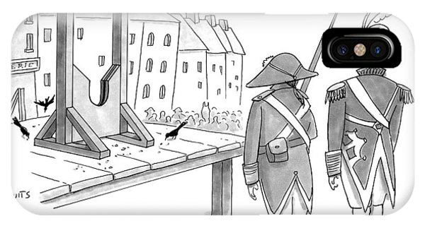 Two French Soldiers Look At A Guillotine IPhone Case