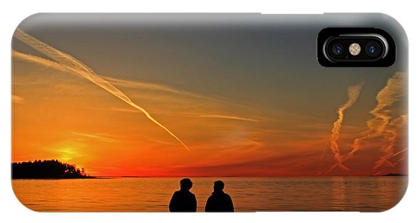 Two Friends Enjoying A Sunset IPhone Case
