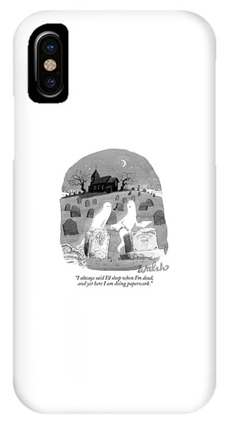 Two Ghosts Talk In A Graveyard.  One Is Holding IPhone Case