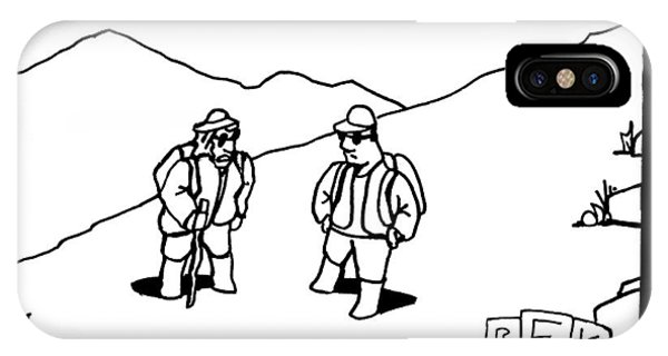 Two Hikers Are Talking To Each Other Outdoors IPhone Case