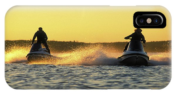 Jet Ski iPhone Case - Two Jet Skis In Open Water At Sunset by Joel Sheagren