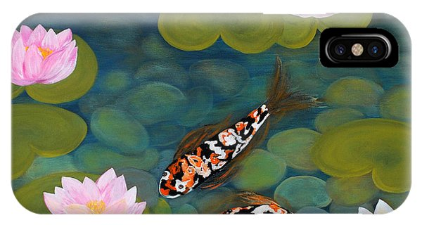 Two Koi Fish And Lotus Flowers IPhone Case