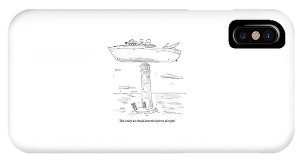 Two Lighthouse Keepers Look Up At A Boat That IPhone Case