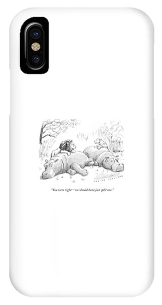 Carcass iPhone Case - Two Lions Prepare To Dine On Two Hippopotami by Trevor Spaulding
