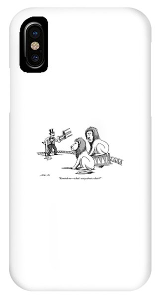 Two Lions Talk As A Lion Tamer Shakes A Chair IPhone Case