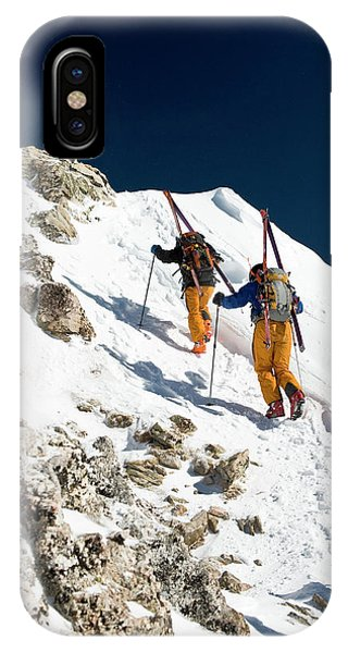 Sangre De Cristo iPhone Case - Two Men Backcountry Skiing Hike by Jen Judge