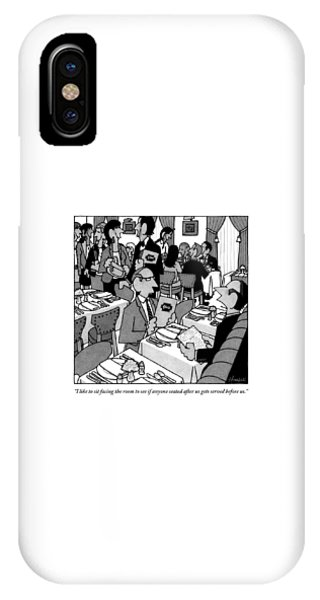 Two Men Chat At A Restaurant Table. One Man IPhone Case