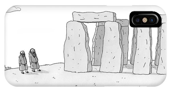 Two Men In Robes Chat Beside Stonehenge IPhone Case