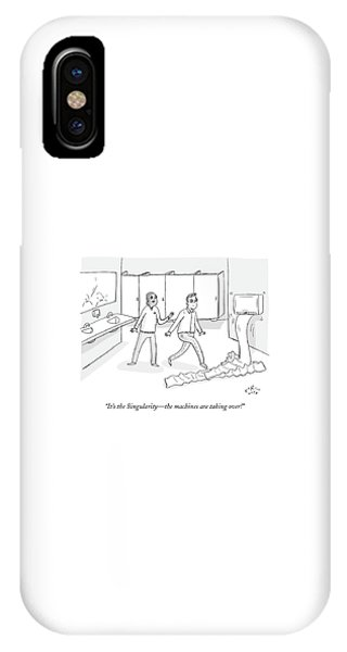 Dispenser iPhone Case - Two Men In The Bathroom Freak Out As A Paper by Farley Katz