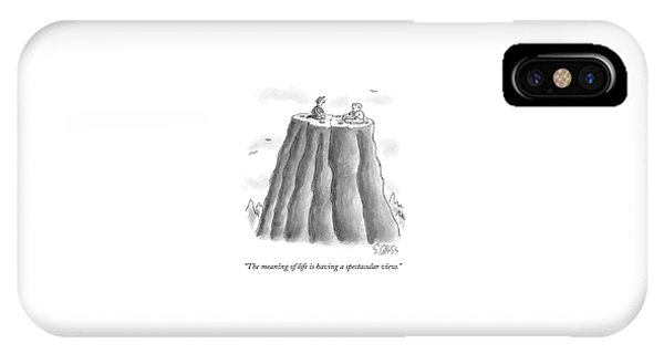 Two Men On Top Of The Plateau Of A Large Mountain IPhone Case