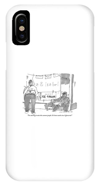 Missing iPhone Case - Two Men Sit Outside An Ice Cream Shop Smoking by Michael Crawford