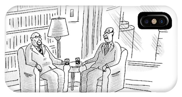 Two Middle Age Men In Suits Talk In An Office IPhone Case