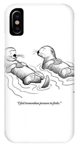 Two Otters Laying On Their Backs. One Is Speaking IPhone Case