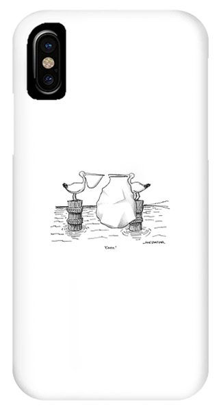 Two Pelicans Converse As The Other's Beak IPhone Case
