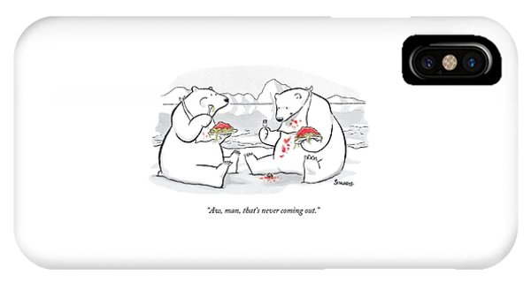 Two Polar Bears Eat Spaghetti And Meatballs.  One IPhone Case