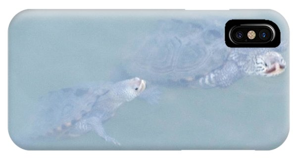 Two Rare Turtles Swam Up To See Phone Case by Debbie Nester