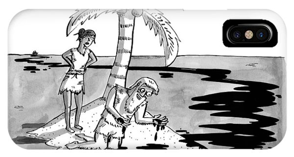 Two Shipwrecked Men Are On An Island With A Big IPhone Case