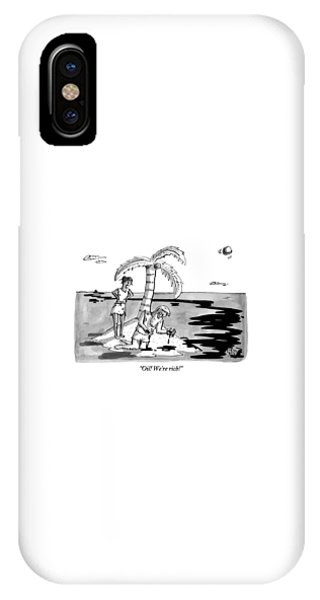 Shipwreck iPhone Case - Two Shipwrecked Men Are On An Island With A Big by Farley Katz