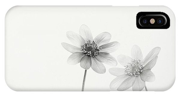 Monochrome iPhone Case - Two Small Flowers by Lotte Gr?nkj?r