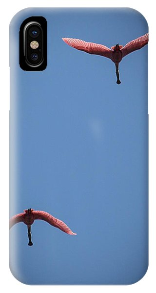 Two Spoonbills Overflying The Swamp IPhone Case