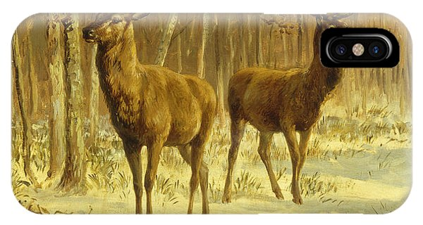 Barren iPhone Case - Two Stags In A Clearing In Winter by Rosa Bonheur