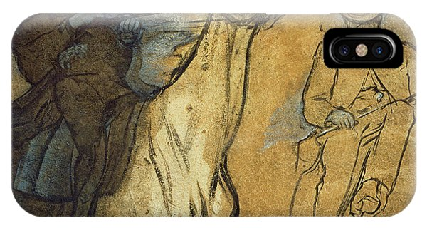 Horseman iPhone Case - Two Studies Of Riders by Edgar Degas