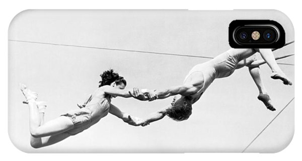 Barnum And Bailey iPhone Case - Two Trapeze Artists by Underwood Archives