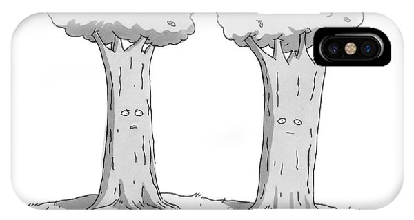 Two Trees With Faces Are Seen Next To Each Other IPhone Case